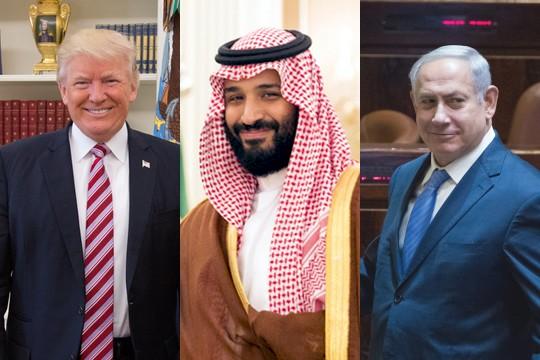 האם אנו עדים למהלך משולש – ישראלי-אמריקאי-סעודי? נתניהו, טראמפ ובן סלמאן (צילום: הבית הלבן, יונתן זינדל/פלאש90)
