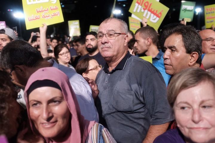 מוחמד ברכה בהפגנה נגד חוק הלאום בתל אביב, באוגוסט 2018 (צילום: תומר נויברג / פלאש 90)