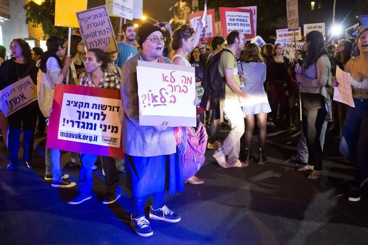 הפגנה נגד תרבות האונס, בתל אביב במרץ 2014 (צילום: קרן מנור)