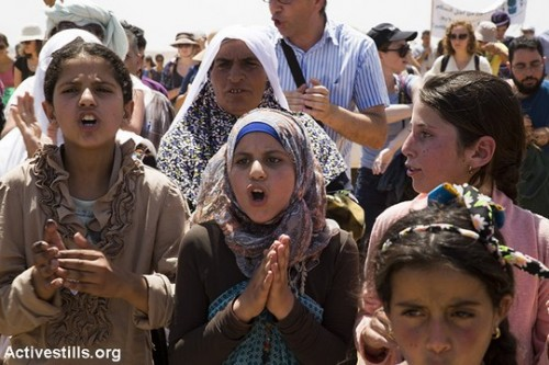 מאות הפגינו בסוסיא נגד הכוונה להרוס את הכפר ולגרש את תושביו