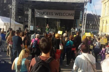 עצרת למען הפליטים, בודפשט (אבי בלכרמן)
