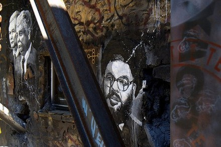 גרפיטי של מנהיג חיזבאללה, חסן נסראללה (thierry ehrmann CC BY 2.0)