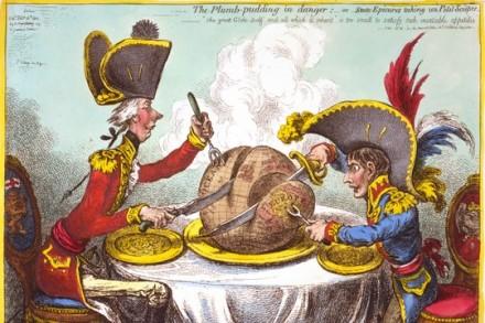 הצרפתים והבריטים מחלקים ביניהם את העולם. קריקטורה מ-1818, מאה שנים לפני סייקס-פיקו. איור של ג'יימס גילריי
