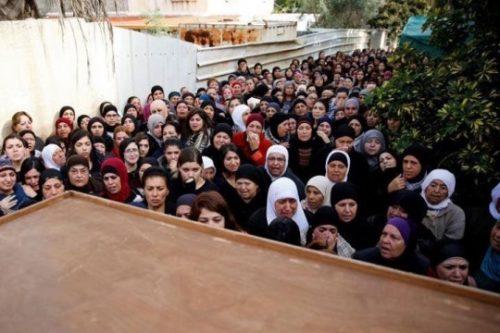 נשים ערביות בהלווייתה של ליאן נאסר בטירה היום