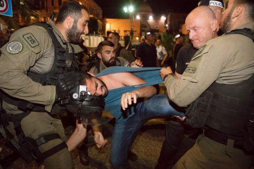 """הפלסטינים לא סובלים מהיעדר זכויות בגלל """"צמצום המרחב הדמוקרטי"""", אלא בגלל שהם פלסטינים. הפגנה בחיפה כהזדהות עם עזה (צילום: נדין נאשף)"""