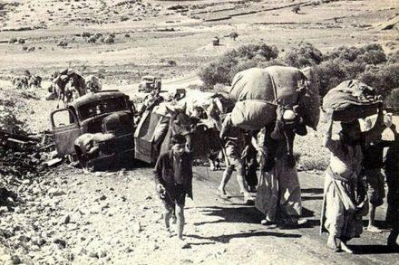 פליטים פלסטינים במלחמת 1948. ההקבלה לשואה התחילה מייד אחרי המלחמה