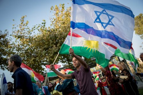הפגנה מול הקונסוליה האמריקאית בירושלים לתמיכה בעצמאות כורדיסטן, בספטמבר 2017 (צילום: יונתן זינדל / פלאש90)